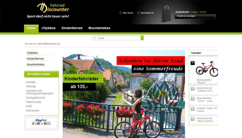 Website von www.fahrradiscounter.at in 1170 Wien